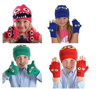 Boys or Girls Cute Monster Beanie Woolly Hat and Mitten Gloves Gift Set GL902