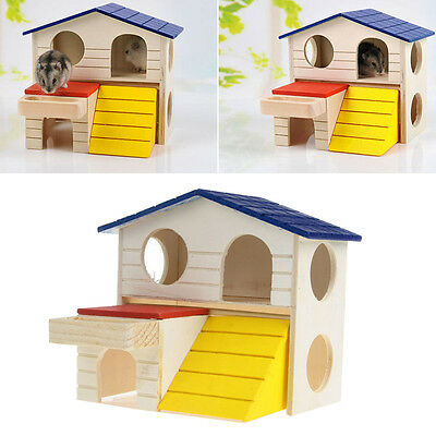 Dual Layer Wooden Bed House Cage Villa For Pet Rat Mouse Dwarf Hamster Animal