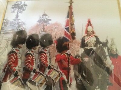 Beautiful Print Depicting Trooping The Colour Guardsmen At Buckingham Palace