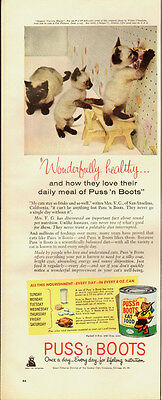 1950 Vintage ad for Puss'n Boots Cat Food/Siamese Cats (070313)