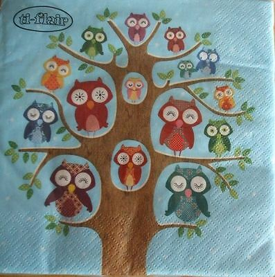 4 x Paper Napkins - Owl Family Tree - Ideal for Decoupage / Decopatch [1662011]