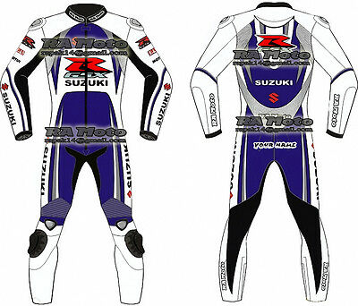 Suzuki Motorbike Motorcycle Leather racing 1 & 2 piece Suit tailor made