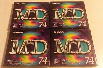 4 x Blank Sharp MD-R 74 Minidisc 74 Minutes - RECORDABLE - New & Factory Sealed