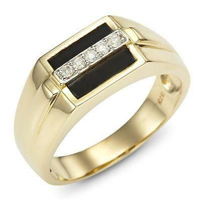 Natural Onyx & 5 Diamond 9ct 9K 375 Solid Gold Gents Mens Ring