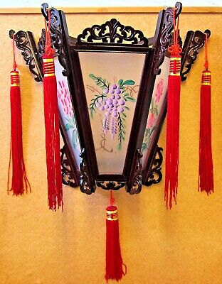 Chinese Palace Wall Lantern Hand Painted Flowers Floral Wood and Glass