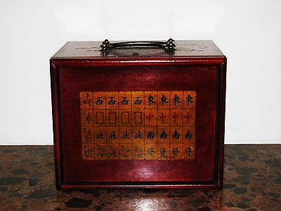 Red Painted Chinese five  Drawer Jewellery  Box