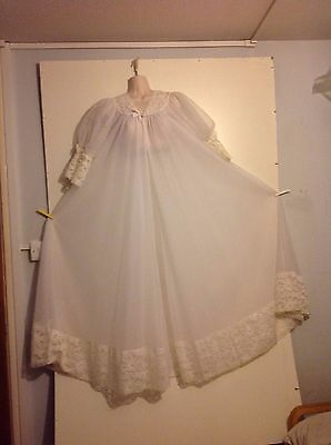 Vintage Full length Negligee Double layered with soft widlace bodice,cuffs & hem