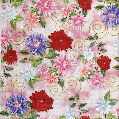 4x Paper Napkins for Decoupage Decopatch Craft Colorful Flowers