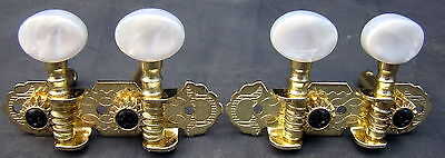 4 string Banjo Geared Tuning Pegs. 1 pair. NOS.