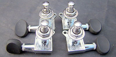 Banjo Geared Tuning Pegs Set of 4.Chrome with black knobs .NOS.