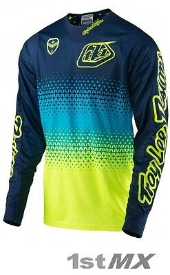 2017 Troy Lee Design Starburst Flo Yellow Navy TLD Motocross Jersey Adult Large