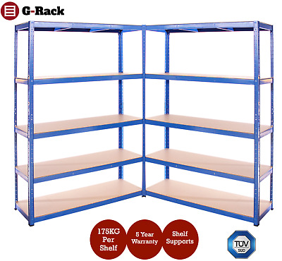 2 Bay Extra Wide Heavy Duty, Garage, Shed, Storage 5 Tier Shelving Racking 120cm