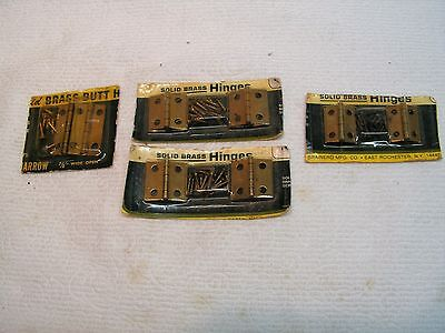 4 Sets Vintage Hinges Solid Brass lot of 8 with All Screws 3 sizes of Hinges.