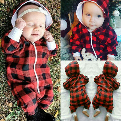 Newborn Baby Boys Long Sleeve Romper Jumpsuit Bodysuit Clothes Hooded Outfits AU
