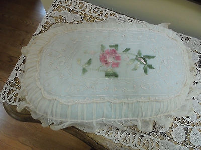 Antique French Net Lace Hand Embroidered Pink Floral Pillow~Made in France