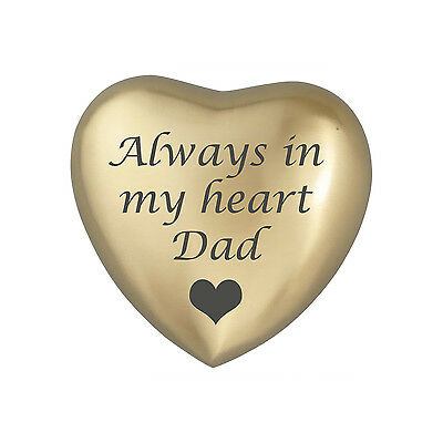 Always In My Heart Dad Golden Coloured Heart Urn Keepsake for Ashes Cremation