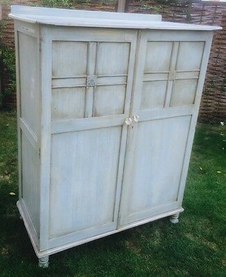 Shabby Chic Painted Wardrobe Cupboard Drawers Shelves Up cycled CAN DELIVER*