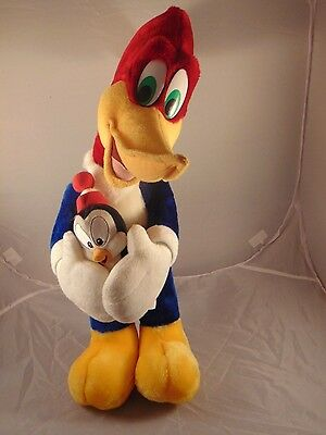 """Woody Woodpecker 20"""" Plush Holding 6"""" Chilly Willy Penguin Universal Studios EUC"""