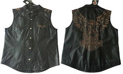 Harley Davidson Leather Territory Eagle Blowout Sleeveless Shirt Vest 97134-09 L