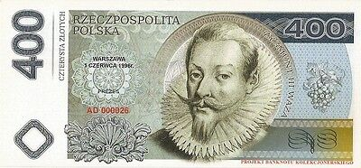 POLAND 400 ZLOTYCH  Project collector note Zygmunt III Waza / UNC