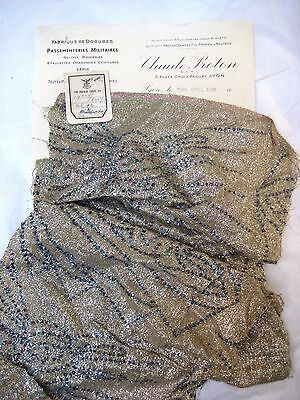 Antique French Lame Fabric Silver Metallic Glitter Flapper Couture Victorian