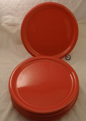 """Waechtersbach Germany Solid Red Lot of 6 Dinner Plates 10"""" w/Rim"""