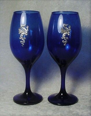 PAIR of Cobalt BLUE Goblets with Pewter Dragons & Crystals - EXCLUSIVE (#2)