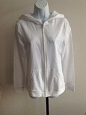 Gilligan & O'Malley Bride Hoodie Sweatshirt New White Zip Bachelorette Party
