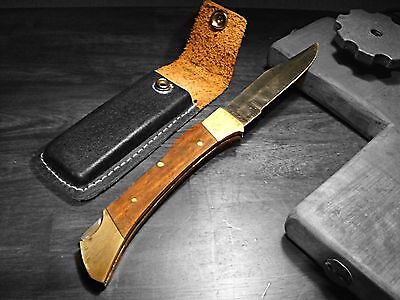 Large Vtg Folding Knife Vintage Brass Wood Handle Steel Pocket Knife