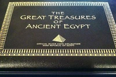 """Egypt 1999 Silver 5 Coins Proof Set """"treasures Of Ancient Egypt"""" Free Usa Ship"""
