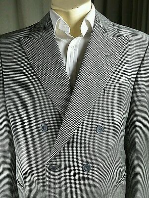 Vintage 1986 Bespoke Tommy Nutter Savile Row Houndstooth Suit C40 W38 L32.5