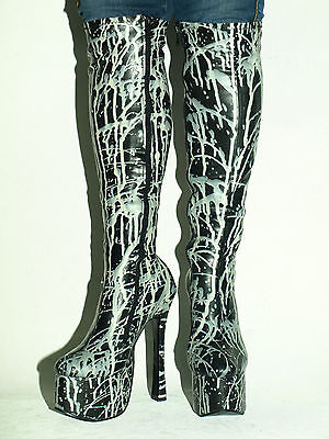 """PRODUCER LATEX RUBBER HIGH BOOTS  SIZE 6-16 HEELS-5,5/"""" POLAND FS1202"""