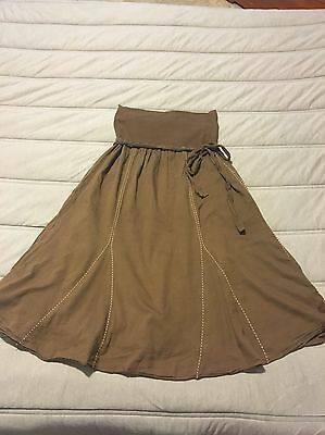 Old Navy Duo Maternity Brown Skirt And Blue Shirt Lot Outfit Size Medium