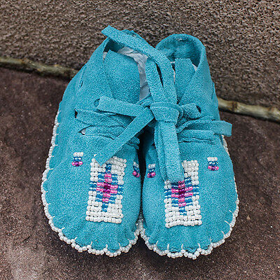 Turquoise Beaded Baby Moccasins by Janet Whiteman-Cheyenne Native American