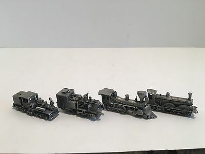 4 Piece Franklin Mint  Miniature Pewter Collectable Trains