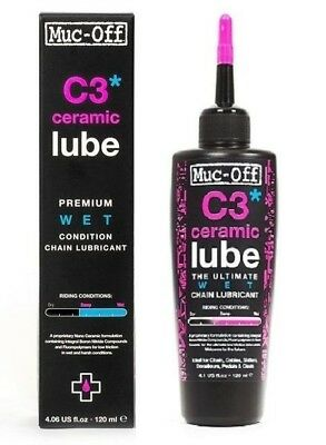 Muc-Off C3 Ceramic Wet Lube 120ml Bicycle Chain Lubricant For All Bikes