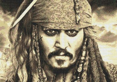 Capt Sparrow Inspired Cross Stitch Kit - Johnny Depp - Pirates of the Caribbean