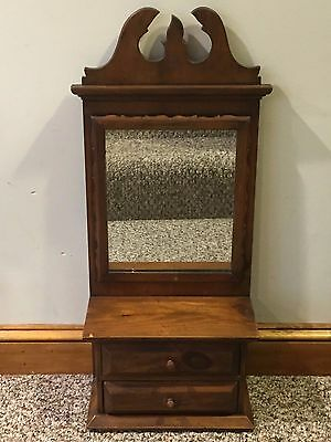 Antique Vintage Pine Wall Hanging Two Drawer Shaving Stand with Mirror