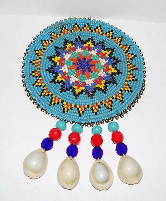 """Vilntage Hand Beaded Navajo Large Round Medallion 3 1/4"""" Glass Beads Shells"""