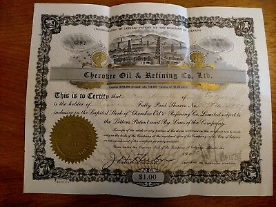 Cherokee Oil and Refining Co. Stock Certificate 5 shares #6579 Canadian 1926