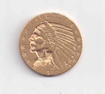 1910 $5 gold Indian coin. Lightly Circulated.