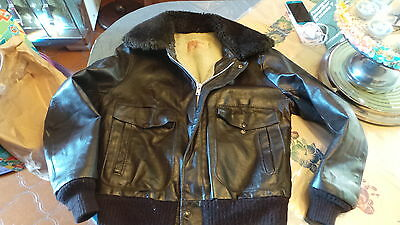 Flight Jacket Blouson Cuir Noir Marque Excelled Taille 40 Us Made In Usa