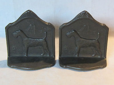 Vintage bronze wired haired fox terrier dog bookends, 1929 Connecticut Foundry