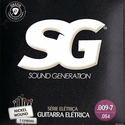 7 string guitar strings, 3 full packs , from SG in Brazil, .009 - 7 / .054