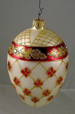 Hand Crafted Fabrige Style Egg Shaped Glass Ornament - Unique - FREE Shipping