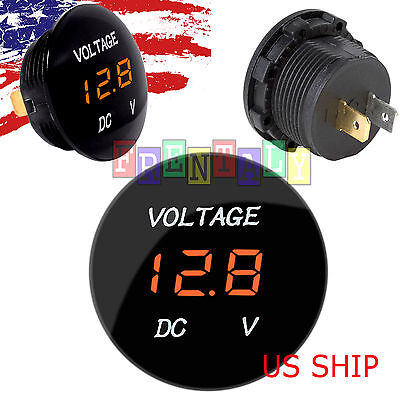 Orange LED Digital Waterproof Voltmeter A Gauge Meter 12V24V Car Auto Motorcycle