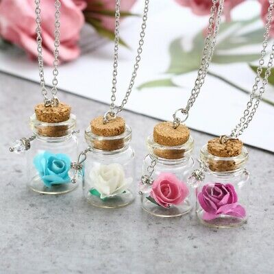 Womens Rose Flower Glass Wish Bottle Glow In The Dark Pendant Necklace Jewellery