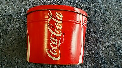 Large COKE COCA-COLA  Officially Licensed Product Bucket tin w/ Lid