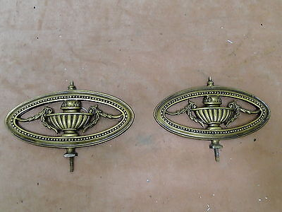 2 Vintage Brass Oval Pierced Decorative Pieces