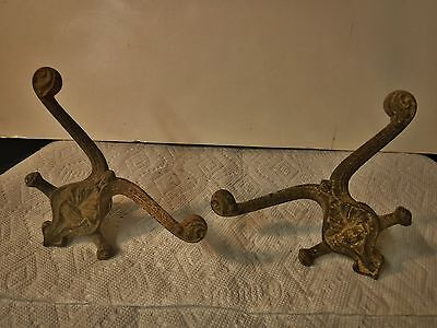 PAIR Antique Victorian Cast Iron COAT HOOKS Hat Rack hall tree Mirror steampunk